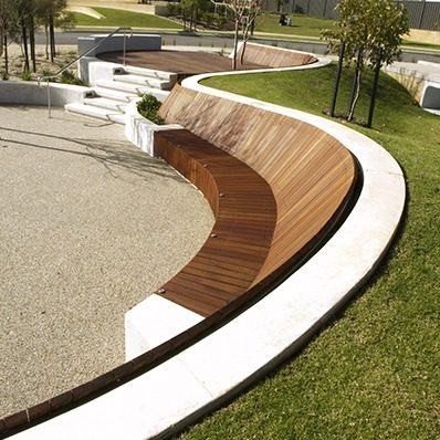 Curved seat is complete for Form garden architecture